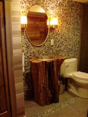 convert pedestal sink to vanity tree trunk pedestal sink mountain lodge ideas