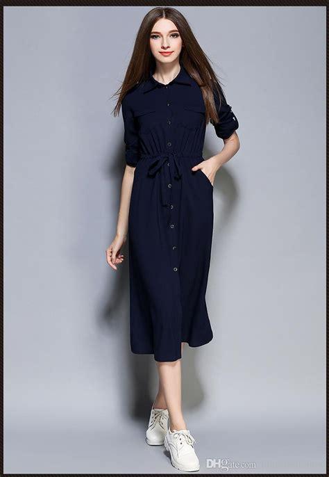 autumn maxi women dress ladies blue knee length