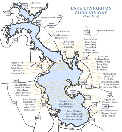 map of lake livingston texas lake livingston subdivision map