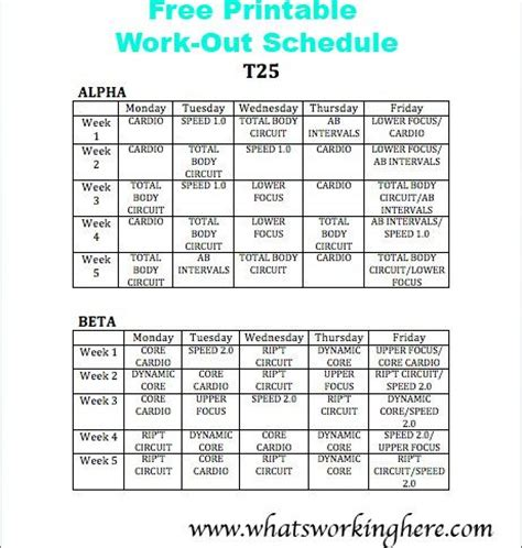 printable t25 schedule free printable t25 work out schedule what s working here