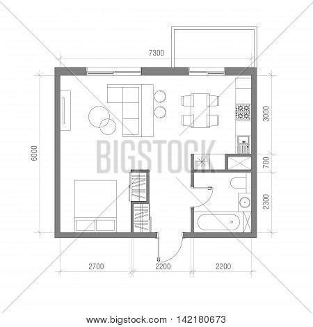 apartment dimensions architectural floor plan vector photo bigstock