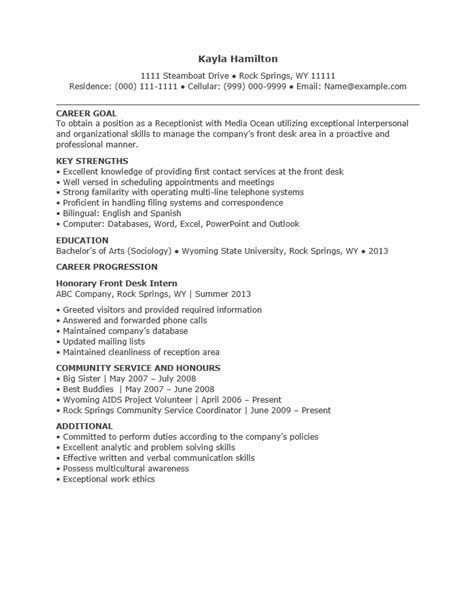Objectives For Resume Examples by Free Entry Level Receptionist Resume Template Sample