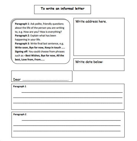 layout of informal letter writing sle informal letter 7 documents in pdf word
