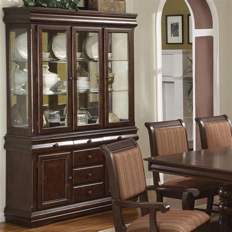 china cabinet and dining room set crown mark merlot buffet and hutch with three glass doors