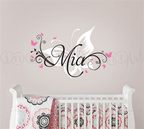 name wall decals for nursery butterfly and custom name wall decal butterfly nursery