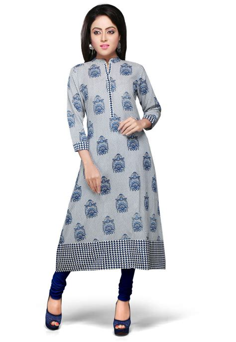 geroo white printed cotton v printed cotton kurta in white and blue tvt61