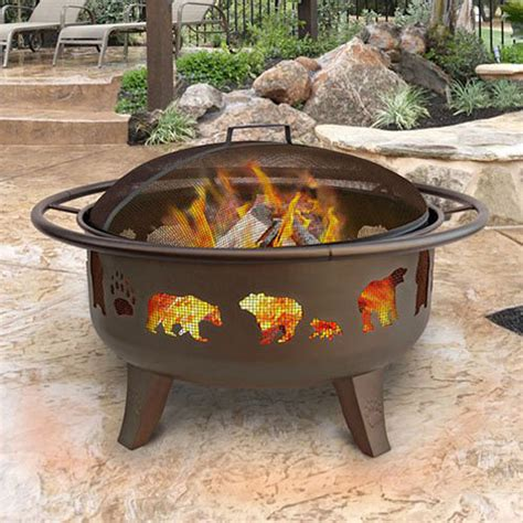 Firepit Wood Shop Landmann Usa 36 In W Metallic Brown Steel Wood Burning Pit At Lowes