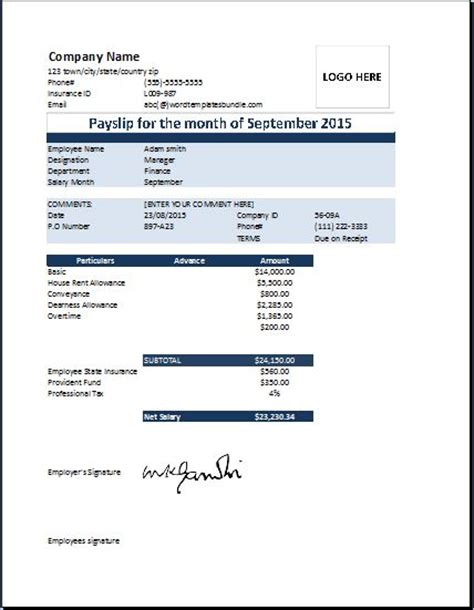 editable payslip template images templates design ideas