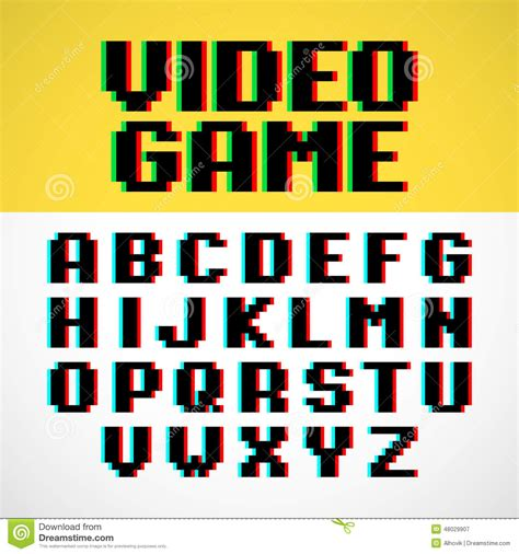 font design game video game pixel font stock vector image 48029907