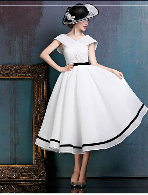 White Vintage Wedding Dresses by Black And White Midi Vintage Gown