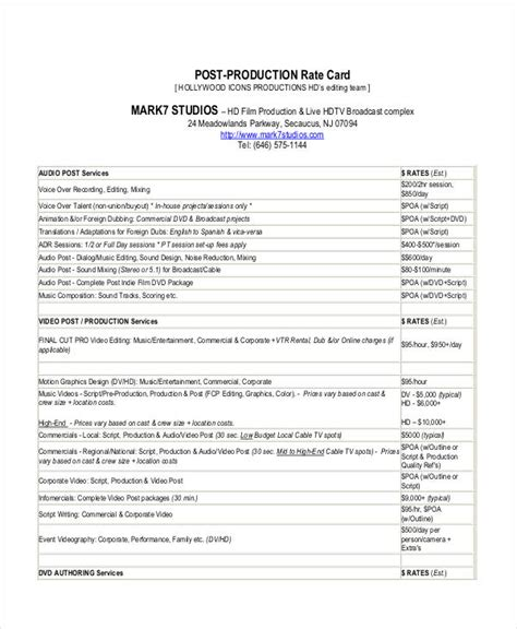 post production budget template budget templates 8 free word pdf format