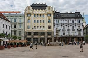 Red Plaid Drapes The Main Square Old Town Bratislava The World In Between