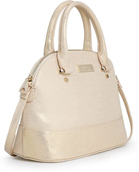 mango touch saffiano effect tote bag in beige gold lyst