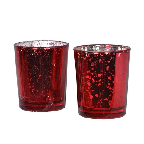 Glass Dining Room Table Set Set Of 2 Red Glass Candle Pots One Living