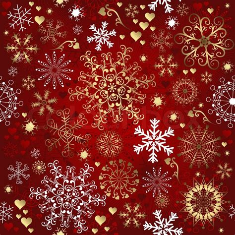 printable gold snowflakes christmas red seamless pattern with gold and white