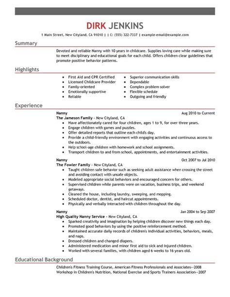 unforgettable nanny resume exles to stand out myperfectresume
