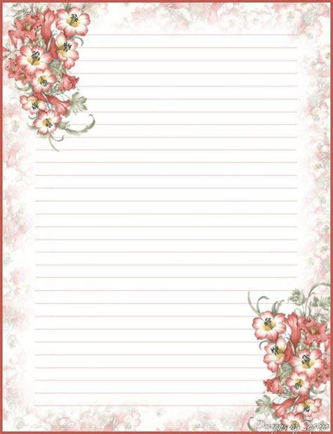 Printable Stationary With Lines Floral Stationery Template