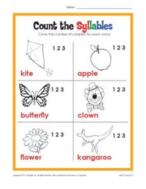 syllables worksheets 1st grade count the syllables phonics worksheets