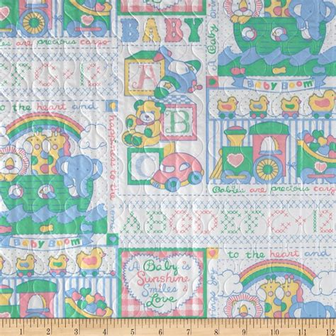 Quilted Baby Fabric by Quilted Vinyl Baby White Pastel Discount Designer Fabric