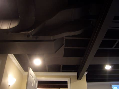 Design For Basement Ceiling Options Ideas Finishing Remodeling Basement Ceiling Design Painted With Black Color Ideas