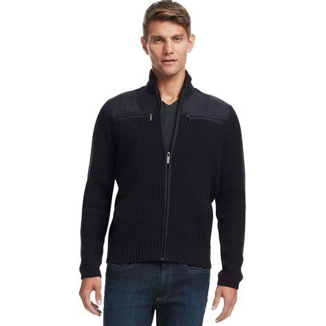 Hoodie Jumper Dan Zipper kenneth cole reaction chunky zipper sweater in black for lyst