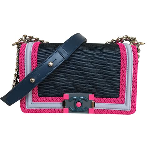 J Flap Bag With Chain Blue chanel chanel runway small le boy flap with silver shiny