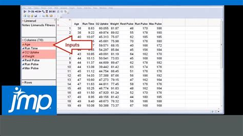 make a data table creating groups of columns in a jmp data table