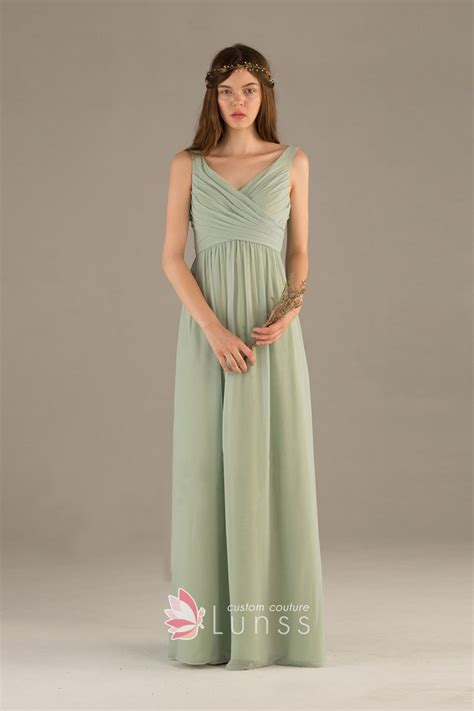 Sleeveless A Line Chiffon Dress pale chiffon casual ruched sleeveless v neckline a
