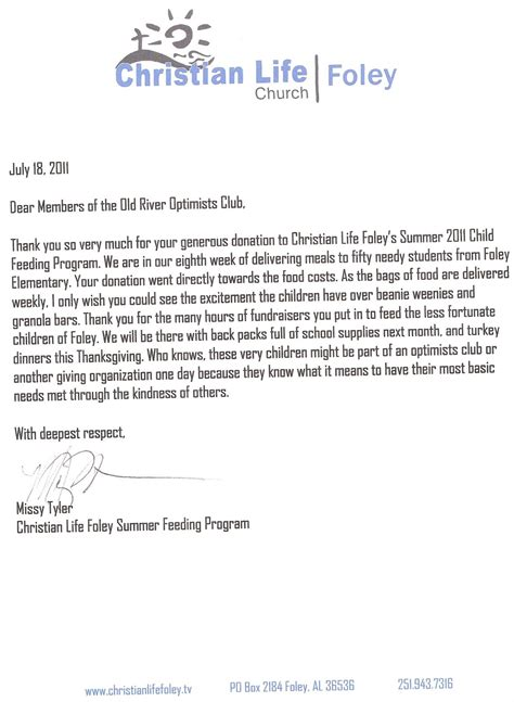 river optimist club letter christian