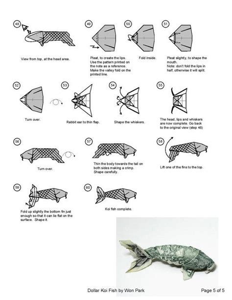 origami koi fish koi fish diagram 5 of 5 money origami dollar bill