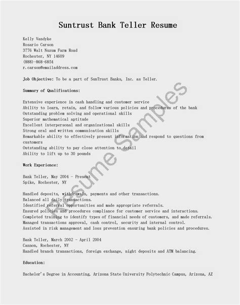 Union Bank Letterhead Resume Sles Suntrust Bank Teller Resume