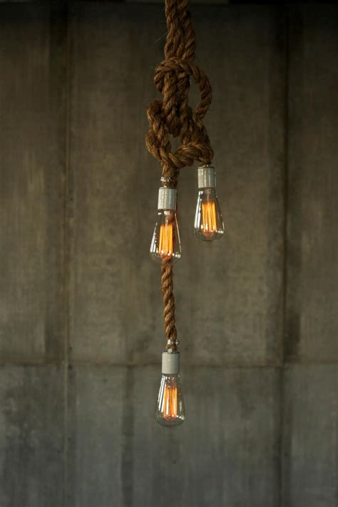 Hanging Bulb Chandelier Rustic Industrial Chandelier With Rope Id Lights