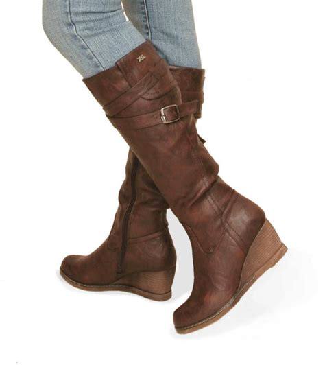 just blue brown leather effect wedge boots