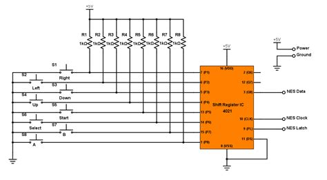 nes controller wiring diagram 4021 shift register