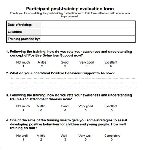 15 Sle Training Evaluation Forms Pdf Sle Templates Participant Evaluation Form Templates