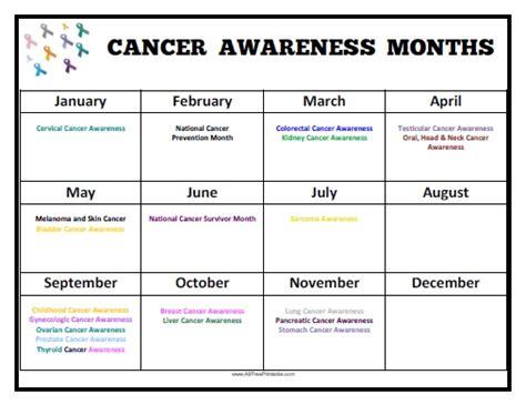 Cancer Calendar Cancer Awareness Months Calendar Free Printable