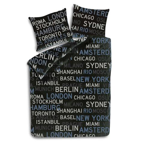 bettdecken set 135x200 bed cover satin 135x200 80x80cm keep calm big cities