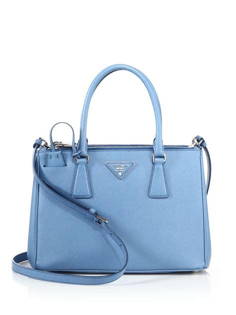 Prada Saffiano Size 25 prada saffiano small zip tote in blue lyst