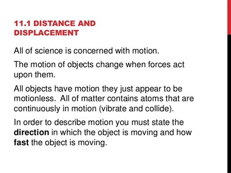 Section 11 1 Distance And Displacement by Chapter 11 Motion Power Point