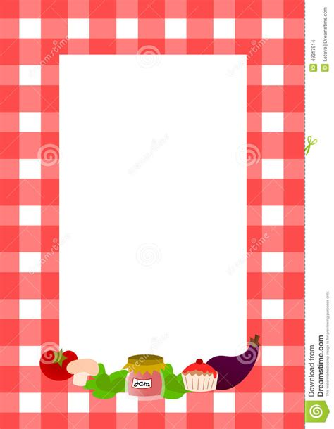 blank recipe page layout stock illustration image of