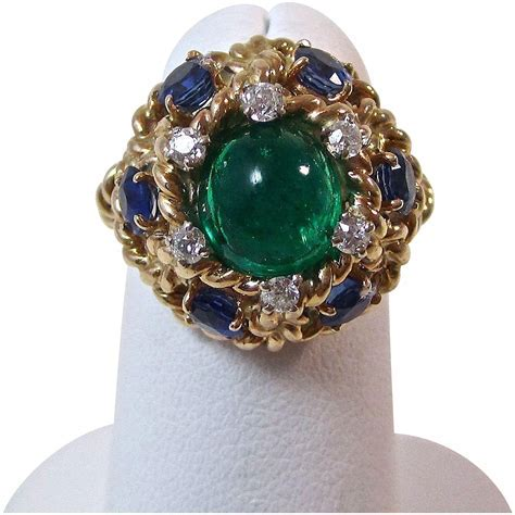 Vintage Estate 1960's Emerald Sapphire Diamond Engagement