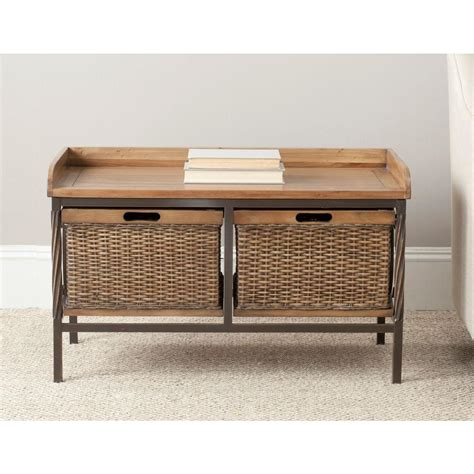 Oak Storage Bench Safavieh Nah Medium Oak Storage Bench Amh6528c The Home Depot