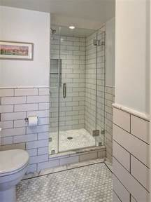 bathroom small white subway tile with vintage pedestal