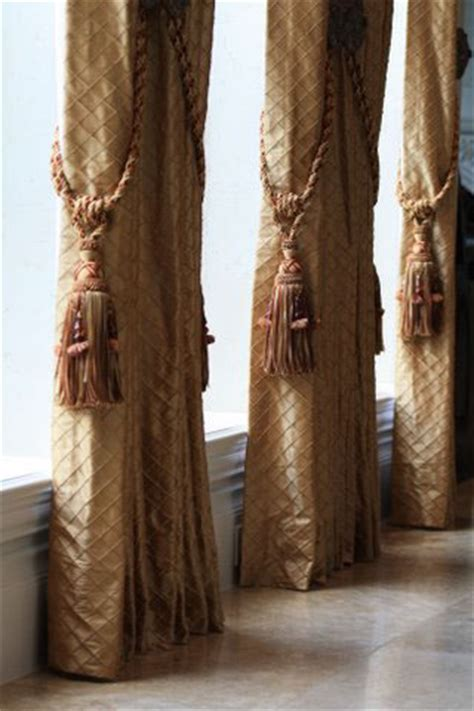 how to tie back curtains with a tassel gold diamond stitch drapery panels with jeweled tassels on