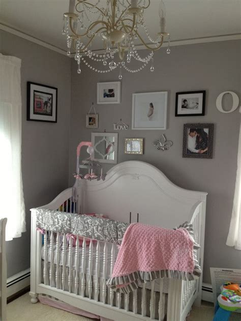 pink and grey toddler room pink grey white baby room babies room grey walls the chandelier and baby