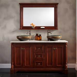 60 quot trevett vessel sink vanity cherry bathroom