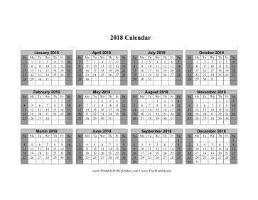 Calendar 2018 Horizontal Printable 2018 Calendar On One Page Horizontal Shaded