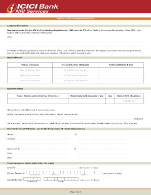 icici bank program fillable form 34 add nominee da 1 icici bank