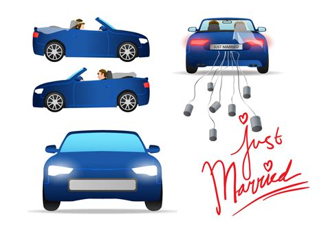 Just Married Auto Grafik by Just Married Car Vector Free Vector Stock