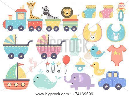 cute animals in boats kids design elements set stock vector set of cute baby elements great for baby shower